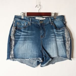 Torrid Cutoff Silver Stripe Jean Shorts